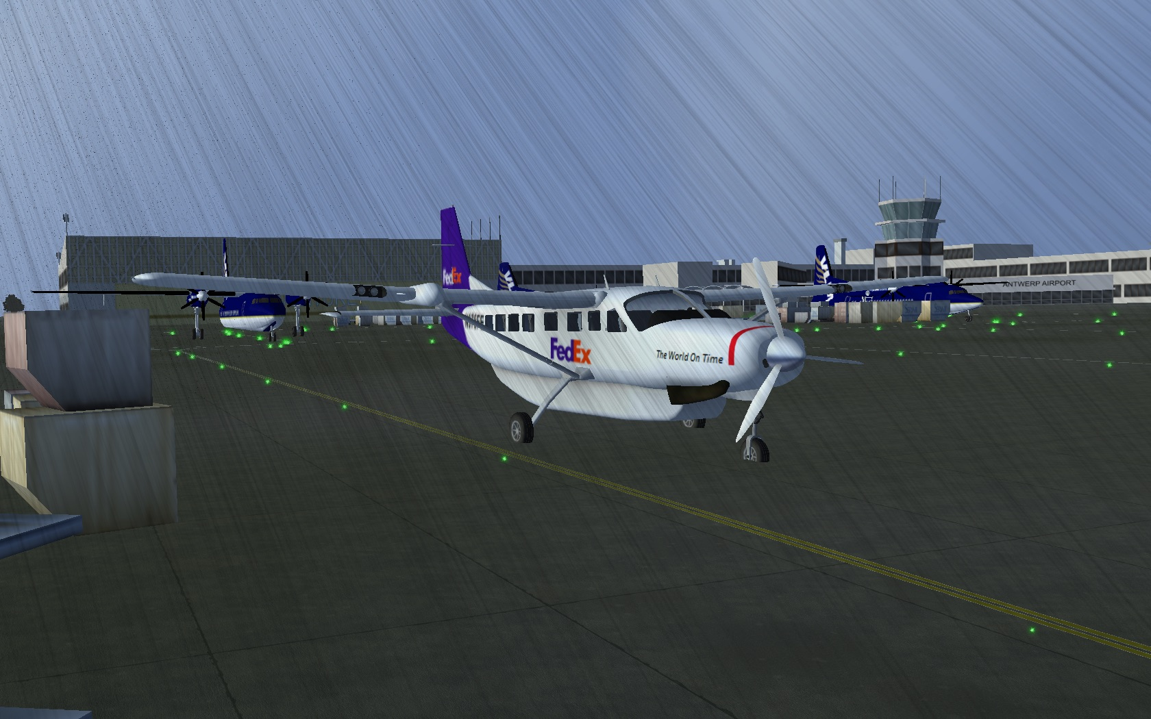 Parked at Antwerpen on a rainy day. Flight: CLM102.